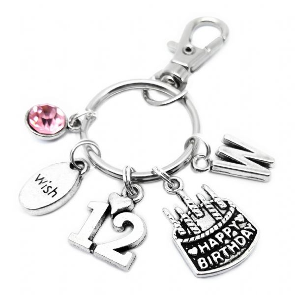 12th Birthday Cake Keyring Personalised Gift For 12 Year Old
